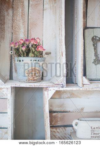 Vintage home arrangement, interior with retro furniture