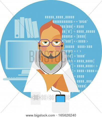 the young man is a programmer who is on computer's background