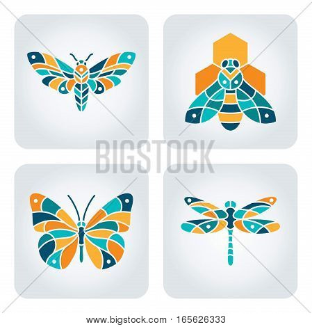 Set of 4 vector mosaic insects icons