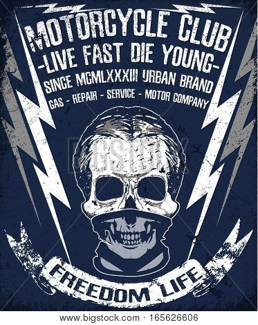 Skull T shirt Graphic Design Motor Club