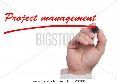 Hand underlining the work project management in red isolated on white