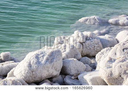 Dead Sea salt deposits stones white crystals