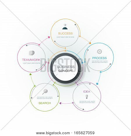 Vector infographics 3D paper cycle diagram template. Blank space for data conten,t business, infographic, digital network, flowchart, process, diagram, chart. Business concept with options or steps processes.