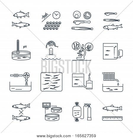 set of thin line icons aquaculture production process fish farming