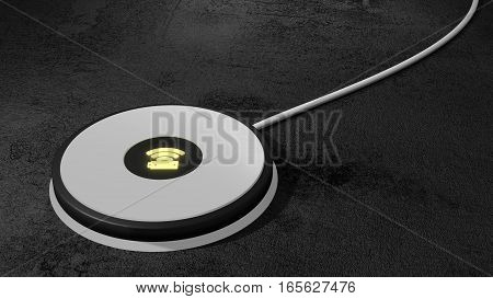 White wireless charging pad for mobile phone and tablet with green glowing icon on a black stone table 3D illustration