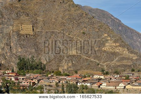Pinkulluna Inca ruins in the sacred valley in the Peruvian Andes. Peru Ollantaytambo.