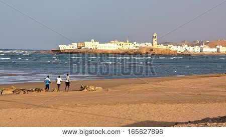 SUR, OMAN: View of Ayjah from the main beach of Sur
