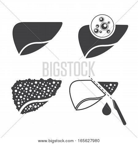 Sign of Liver cancer icons. Vector icons set
