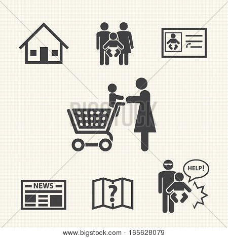 Prevention of baby lost alone, Vector icons