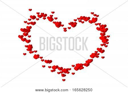 Heart set of small red hearts on white background
