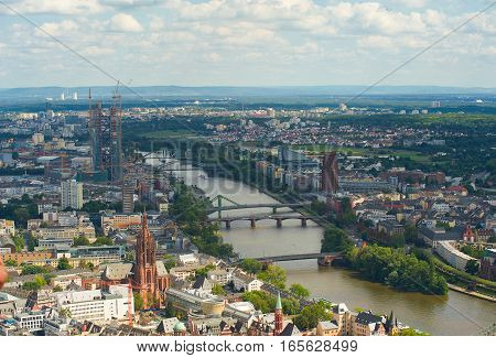 View of Frankfurt am Main on a background of blue sky.