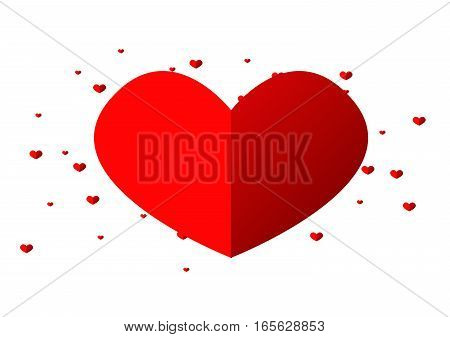 One big red heart decorated with small red hearts on white background