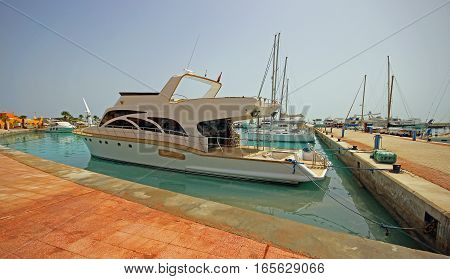 Yacht in the port of Hurghada, Egypt