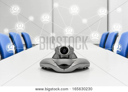 Video Conference Connecting to another device with icon