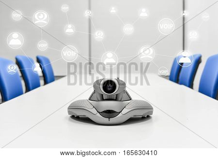 Video Conference Device in the meeting room is connected to other device