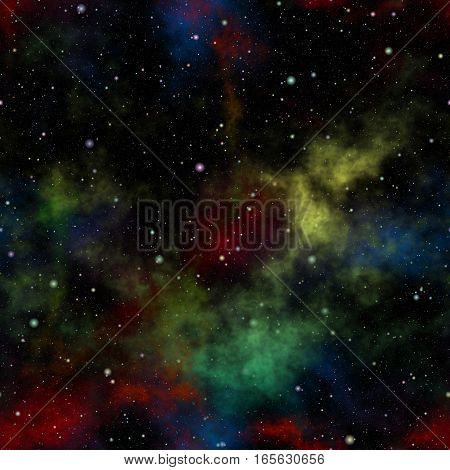 Abstract colorful universe.  Nebula night starry sky. Multicolor outer space. Galactic texture background. Seamless illustration.