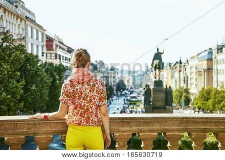 Woman On Vaclavske Namesti In Prague Czech Republic Looking