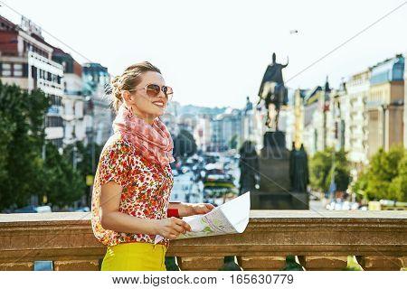 Woman On Vaclavske Namesti In Prague Czech Republic Sightseeing