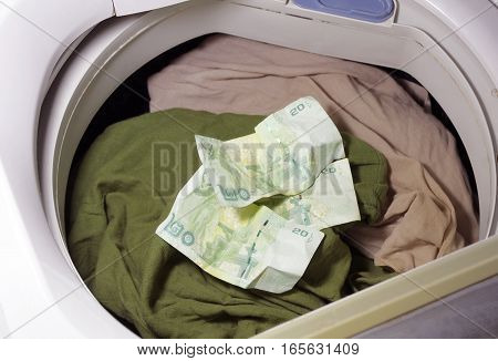 when forgeted some money in washing machine