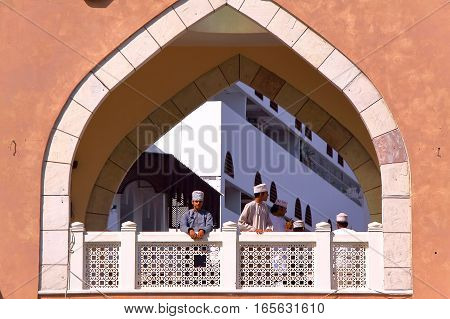 MUSCAT, OMAN - FEBRUARY 9, 2012: Arcades at the entrance of the souk in Muttrah