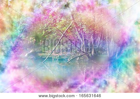 Ethereal Riverside Woodland Scene - rainbow colored riverside woodland path scene with streams of rainbow colored sparkling light making a circular frame around the center