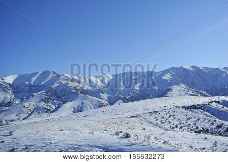 tops of the mountains in the snow from afar