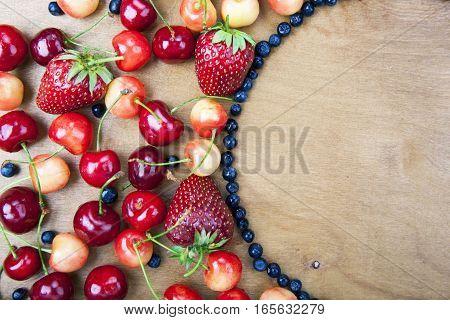 Many Fresh Fruit Lying Around The Semi-circle