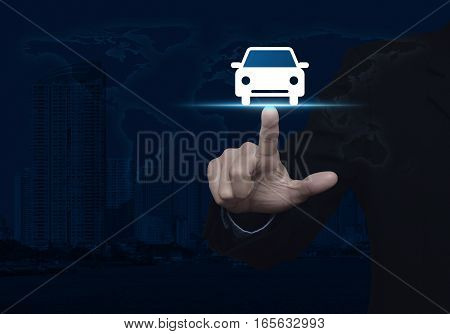 Businessman pressing car front view flat icon over world map and city tower Business service car concept Elements of this image furnished by NASA