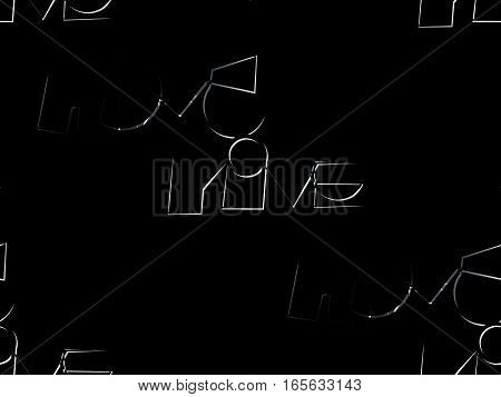 abstract seamless background on the black color is written unusual type the word love