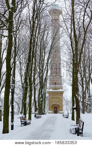 Lookout Tower in winter park (Gomel Palace and Park Ensemble) Gomel Belarus