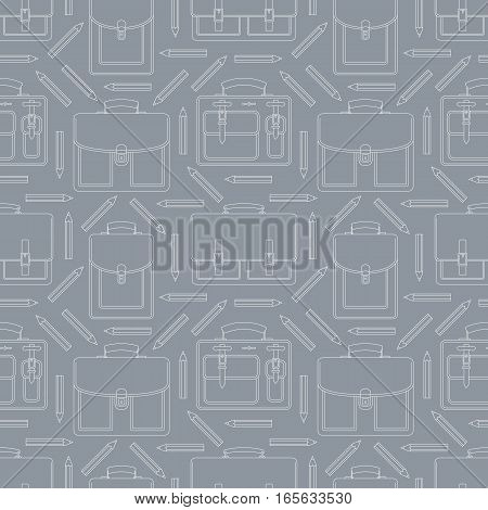 Seamless pattern with portfolios and pencils. Can be used for graphic design, textile design or web design.