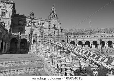 Sevilla (Andalucia Spain): the square known as Plaza de Espana. Black and white