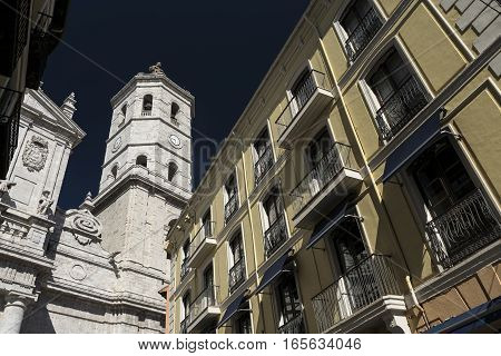 Valladolid (Castilla y Leon Spain): historic buildings with typical balconies