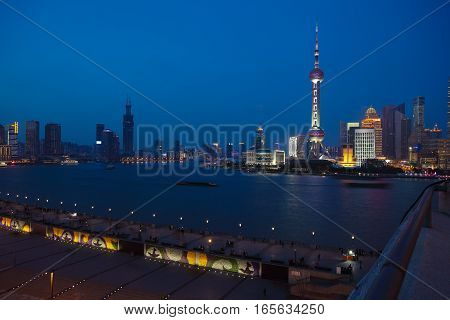 Aerial Photography At Shanghai Bund Skyline Of Night Scene
