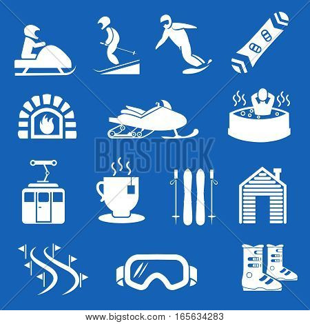 Mountain winter resort and sport hotel icons. Ski and snowboard holiday signs. Goggles and equipment gear to snowboard illustration