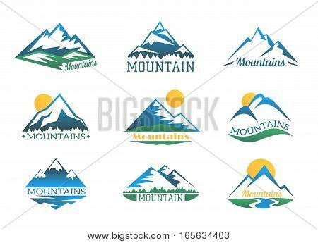 Mountains logo set. Mountain peak landscape with snow cover emblems vector illustration. Logo extreme club collection
