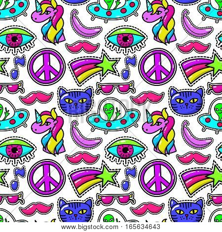 Cute vector fashioned patches with eye and pink mustache, sunglasses and rainbow star. Vintage fashion stitching sticker background illustration