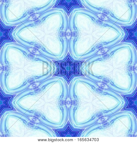 Bright blue abstract arabesque seamless design motif pattern