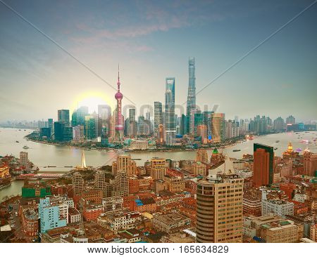 Aerial Photography At Shanghai Bund Skyline Of Sunrise