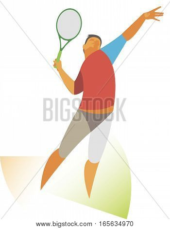professional tennis player performs his first serve of the ball standing on the back of the line