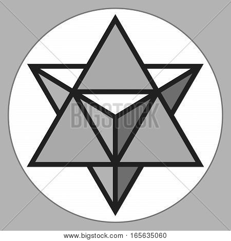 Merkaba, 3d crystal, geometry shape, volume star, abstract vector object