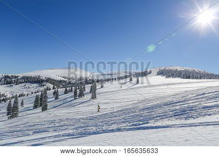 Lone Skier On Wide Ski Area With Fresh Snow On Sunny Day, In The Romanian Carpathian Mountains