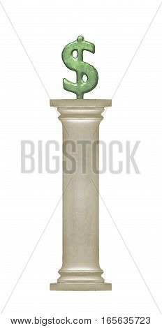 Money Symbol At Top Of Column