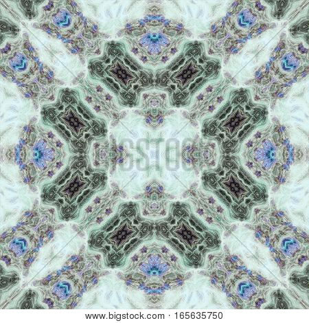 Abstract symmetric ornate blue royal graphic pattern
