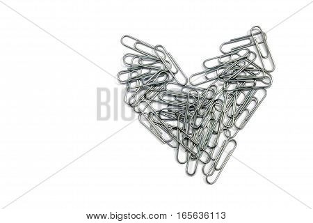 Heart of paper clip isolated on white background