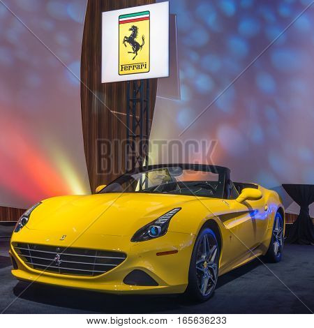 DETROIT MI/USA - JANUARY 8 2017: A Ferrari California T car at The Gallery an event sponsored by the North American International Auto Show (NAIAS) and the MGM Grand Detroit.