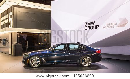 DETROIT MI/USA - JANUARY 9 2017: A BMW 5-Series G30 car at the North American International Auto Show (NAIAS).