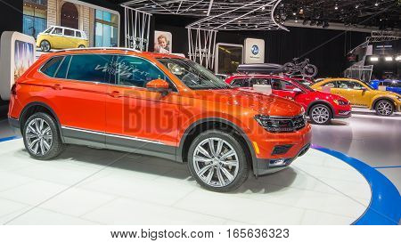 DETROIT MI/USA - JANUARY 10 2017: A 2018 Volkswagen Tiguan crossover at the North American International Auto Show (NAIAS).