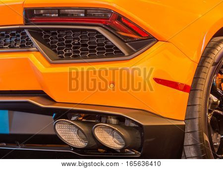 DETROIT MI/USA - JANUARY 8 2017: A Lamborghini Huracan car exhaust at The Gallery an event sponsored by the North American International Auto Show (NAIAS) and the MGM Grand Detroit.