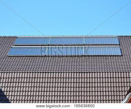Close up on Solar panels. Solar Water Panels Heating.